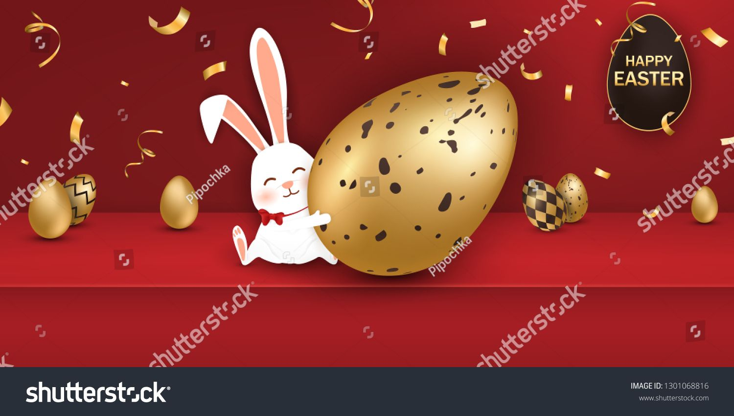 Happy Easter Easter Rabbit Bunny With Realistic Eggs On Red Background Cute Funny Cartoon Rabbit Character In 2020 Christmas Ornaments Easter Rabbit Rabbit Cartoon
