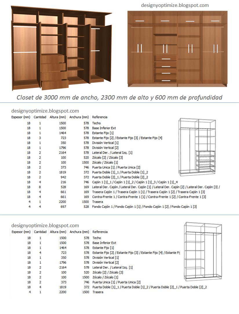 Dise o de muebles madera fabricando closet 3 metros de for Planos de roperos