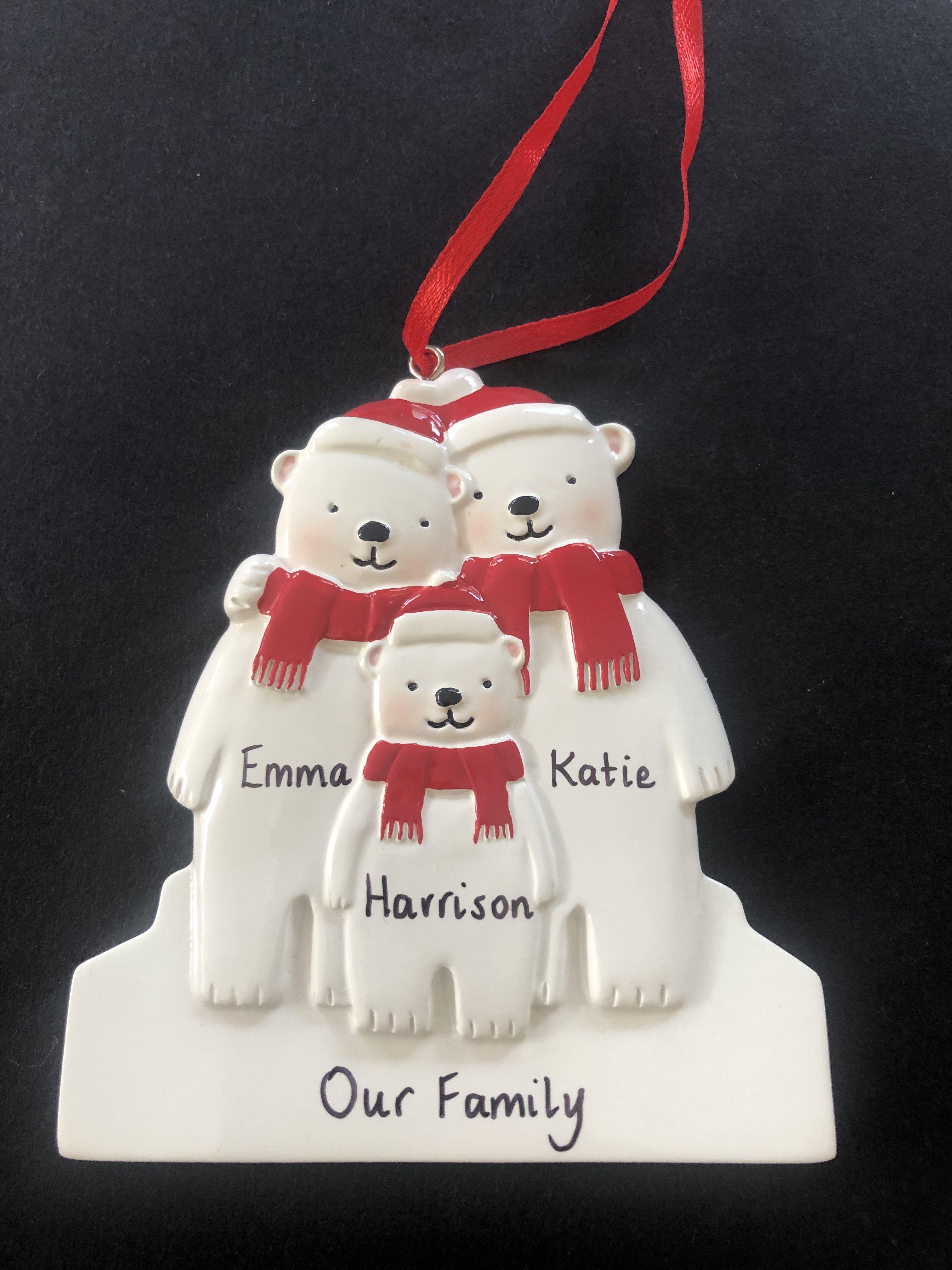 Polar Bear Family Tree Decoration Personalised christmas