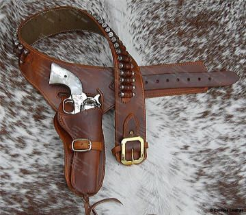 Lined Western Leather Gunbelt Holster Set | Guns ...