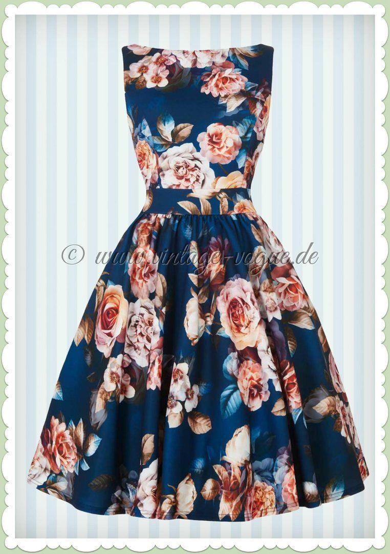 Lady Vintage 10er Jahre Vintage Rosen Kleid - Sapphire Rose - Navy