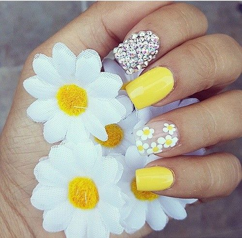 Yellow Daisy Acrylic Nails Nails Pastel Nail Art Pastel Nails