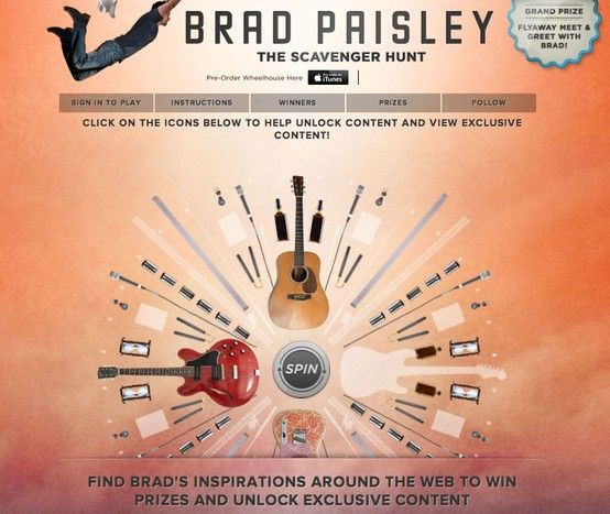 Brad paisley the scavenger hunt follow brads clues to unlock brad paisley the scavenger hunt follow brads clues to unlock hidden content first to unlock wins a prize grand prize is a fly away meet and greet with m4hsunfo