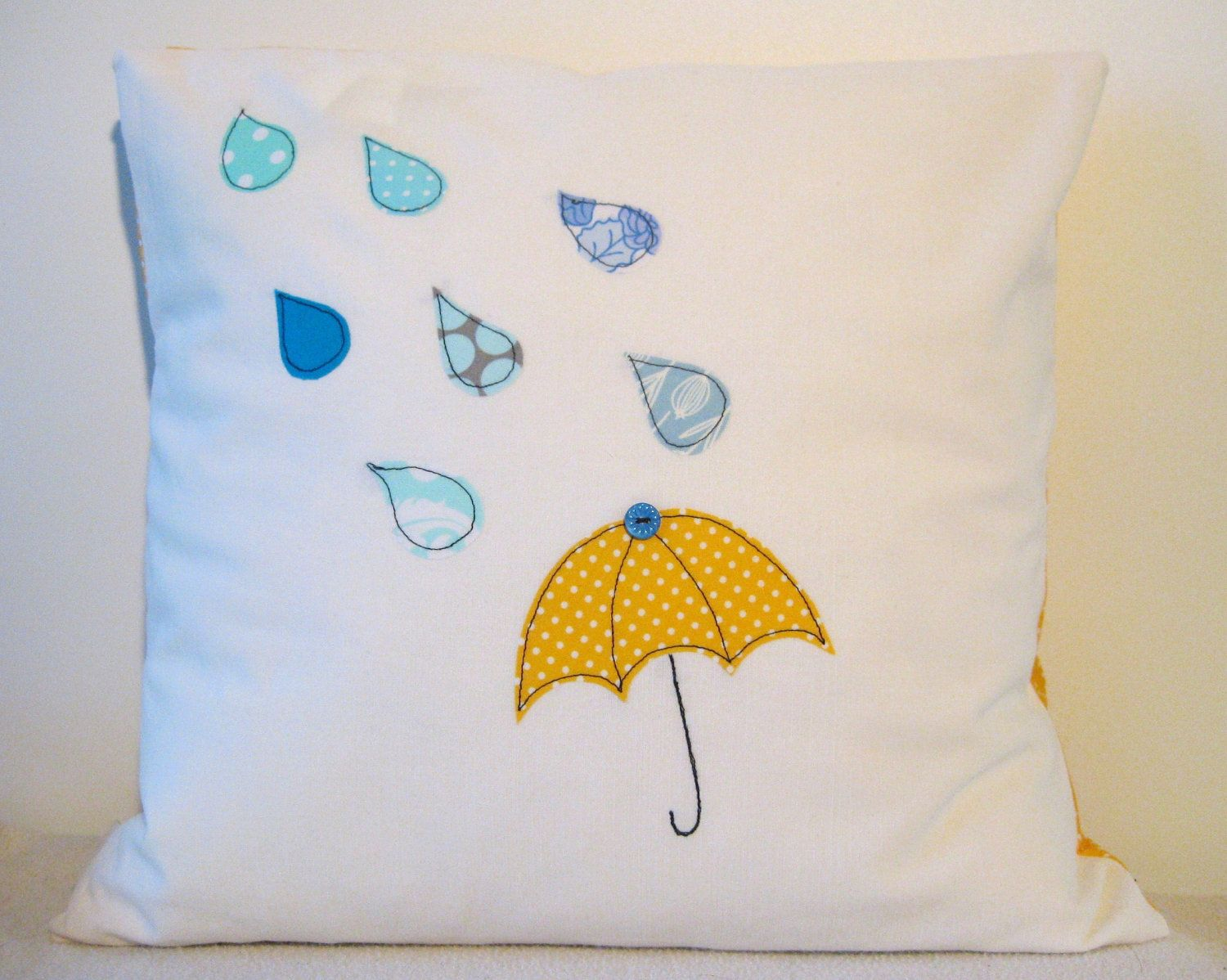 Umbrella and raindrops cushion cover, yellow and blue, free motion ...