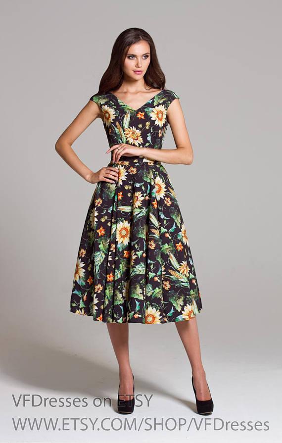 Black Midi Dress Summer With Puffy Skirt Sleeveless