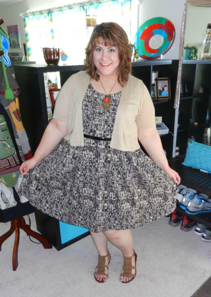 DivineMrsDiva.com - Lane Bryant Animal Print Skater Dress, Short Sleeve Shrug, Skinny Belt, Fringe Sandals