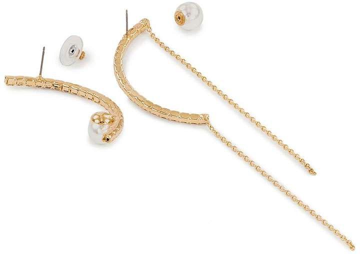 2aeec3e7ef Swarovski Joomi Lim Mismatched faux pearl crystal arch earrings #Lim ...