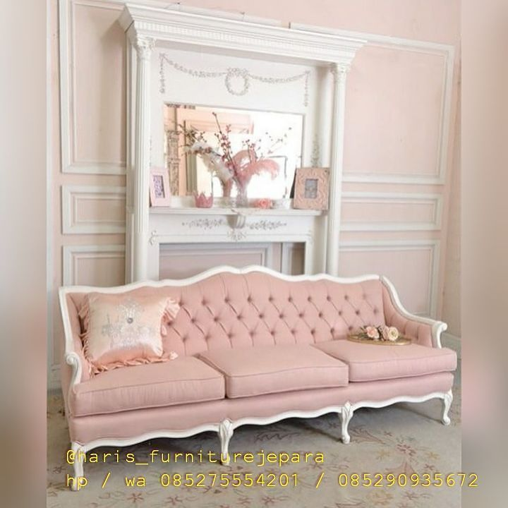 Shabby Cottage Chic Pink Linen Tufted French Style Loveseat Couch ...