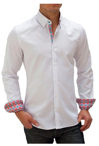 White Dress shirt with checked cuffs.. | Dress Shirts | Pinterest ...