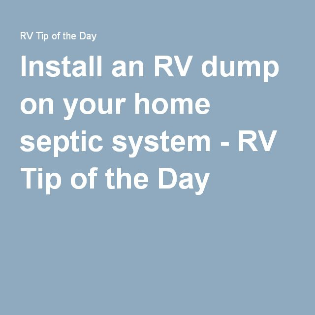 RV septische tank hook up