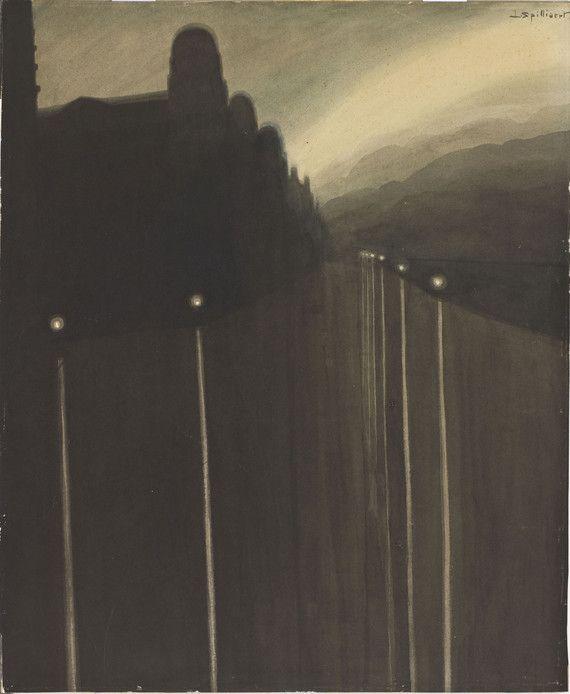 Spillaert Digues la nuit, reflets de lumière 1908 M'O