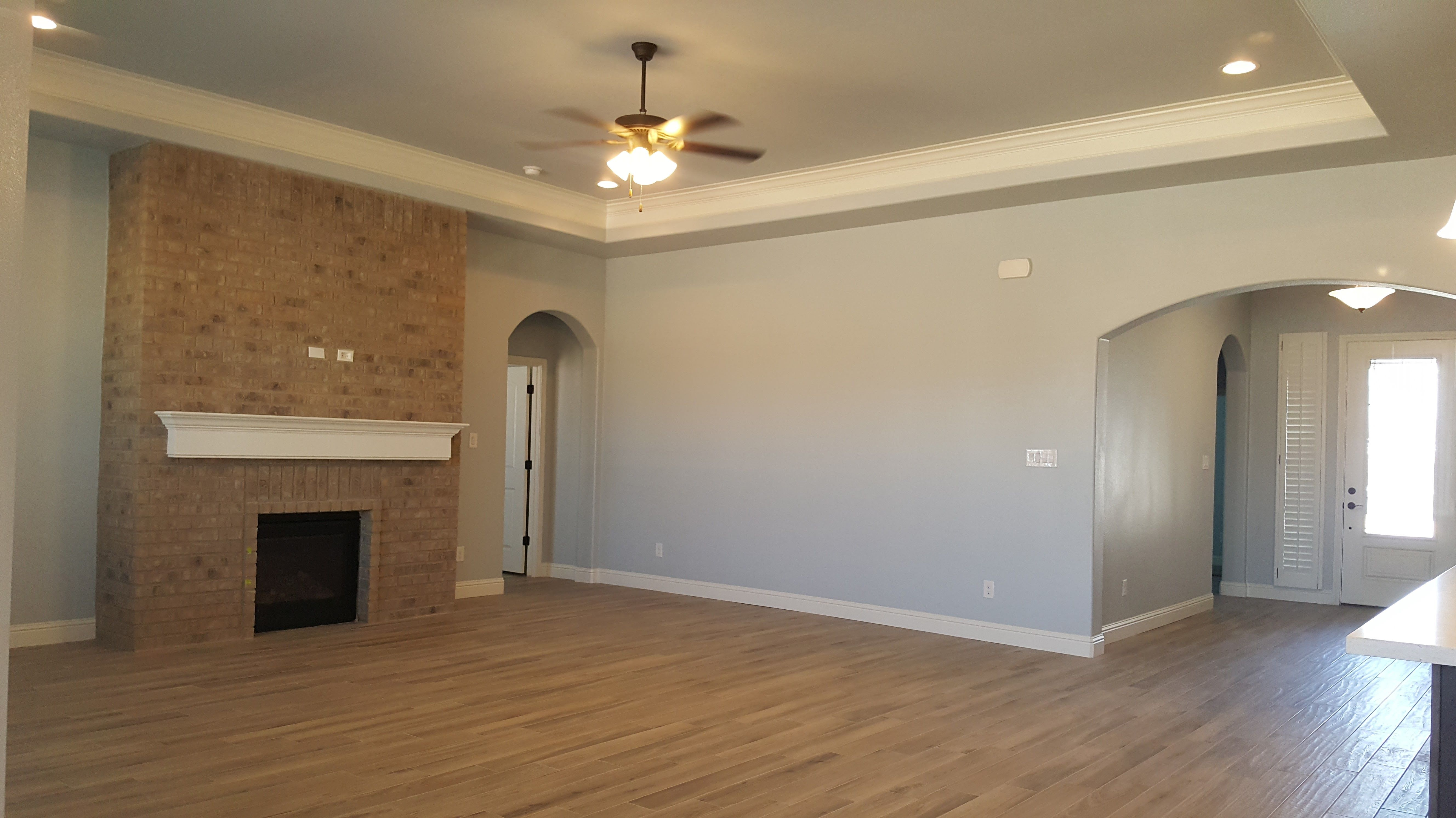 Full Brick Fireplace, No Hearth, Firebox Level With Floor