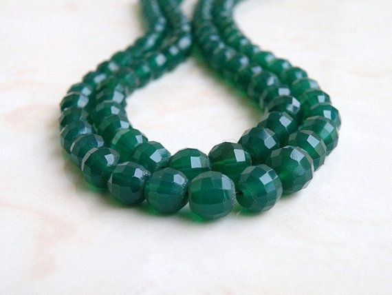 Green Onyx Round Step Cut Faceted 5mm to 7mm by somsstudiosupplies, $15.00