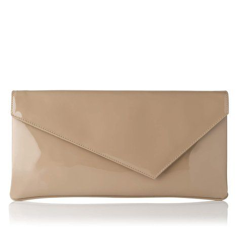 L K Bennett London Leonie Patent Leather Asymetrical Clutch Taupe Light