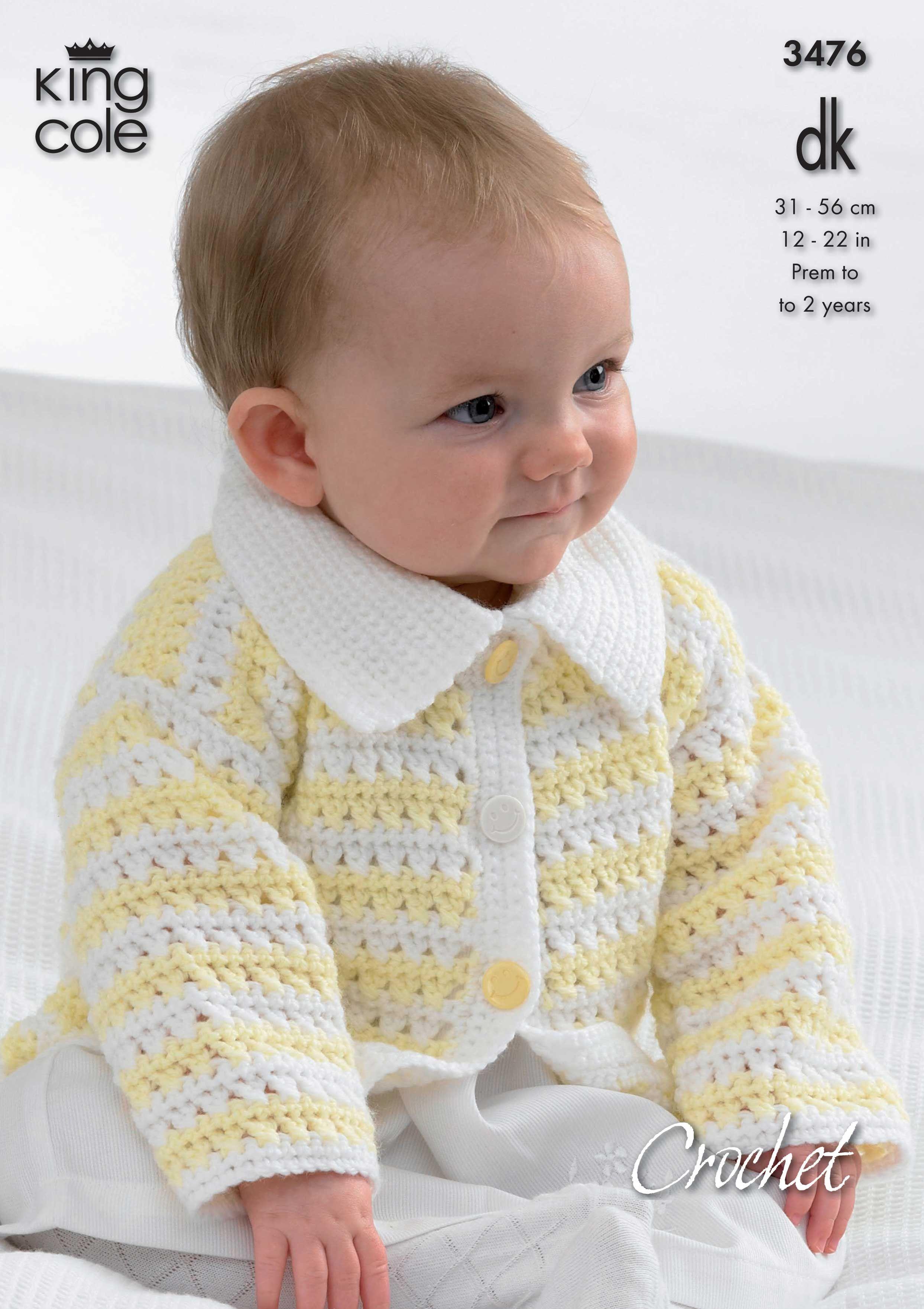 Crochet baby Cardigan with Collar - King Cole | Tejido | Pinterest ...