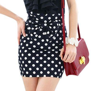 Women's Above-Knee High Waist Slit Polka Dot Bowknot Hugging Short Skirt on buytrends.com