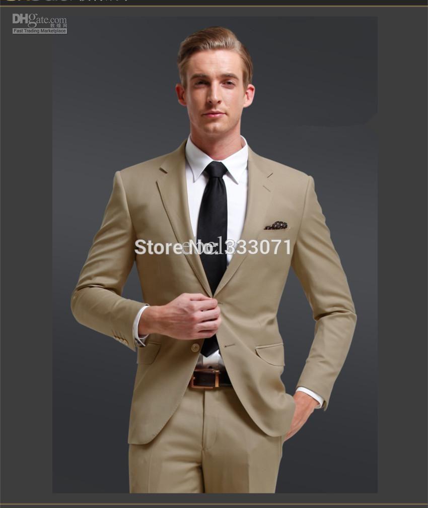 Click to Buy << Custom made 2015 new khaki Beige Groom Suits ...