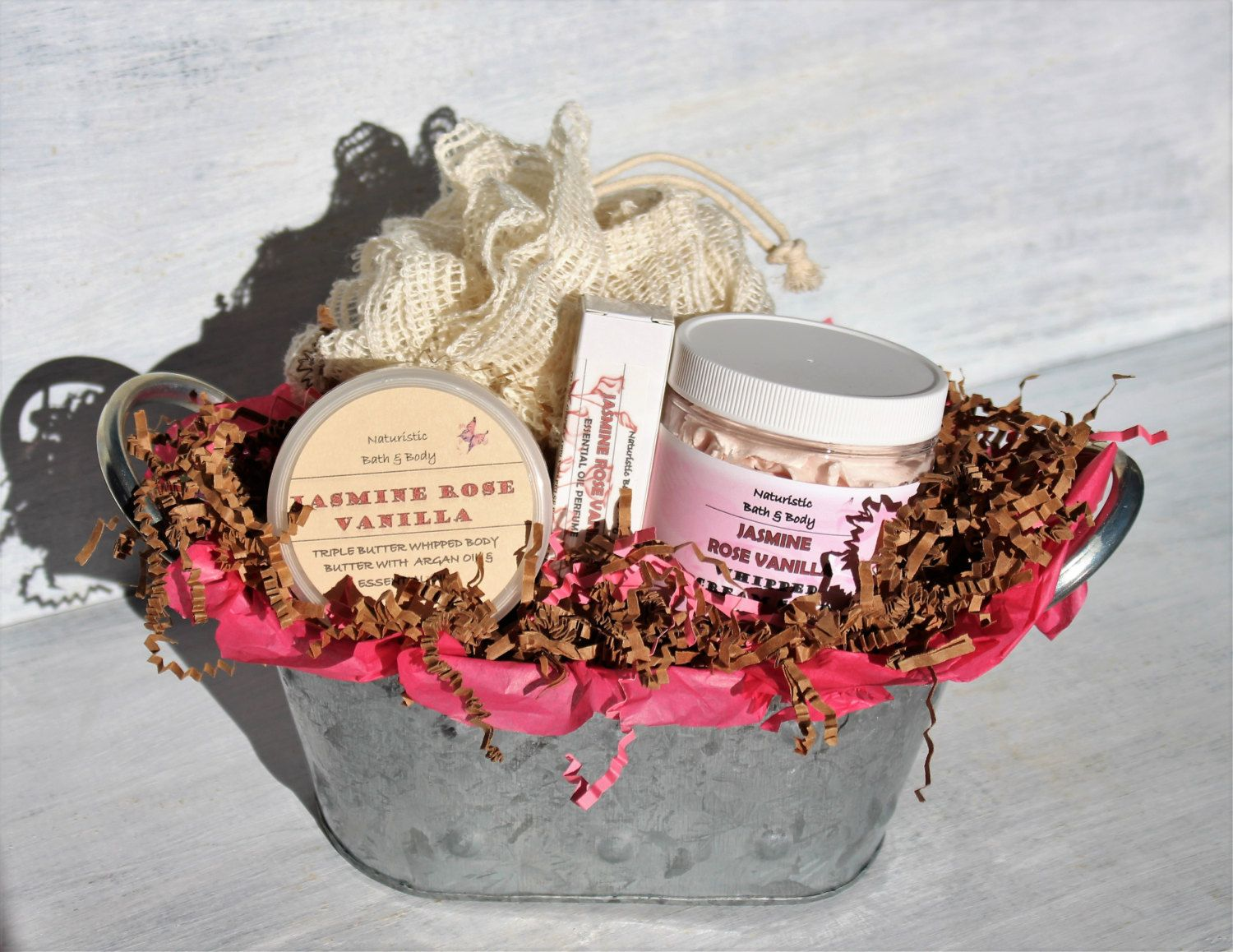 Bath & Body Gift Basket Jasmine Rose Vanilla, Decorative Metal ...