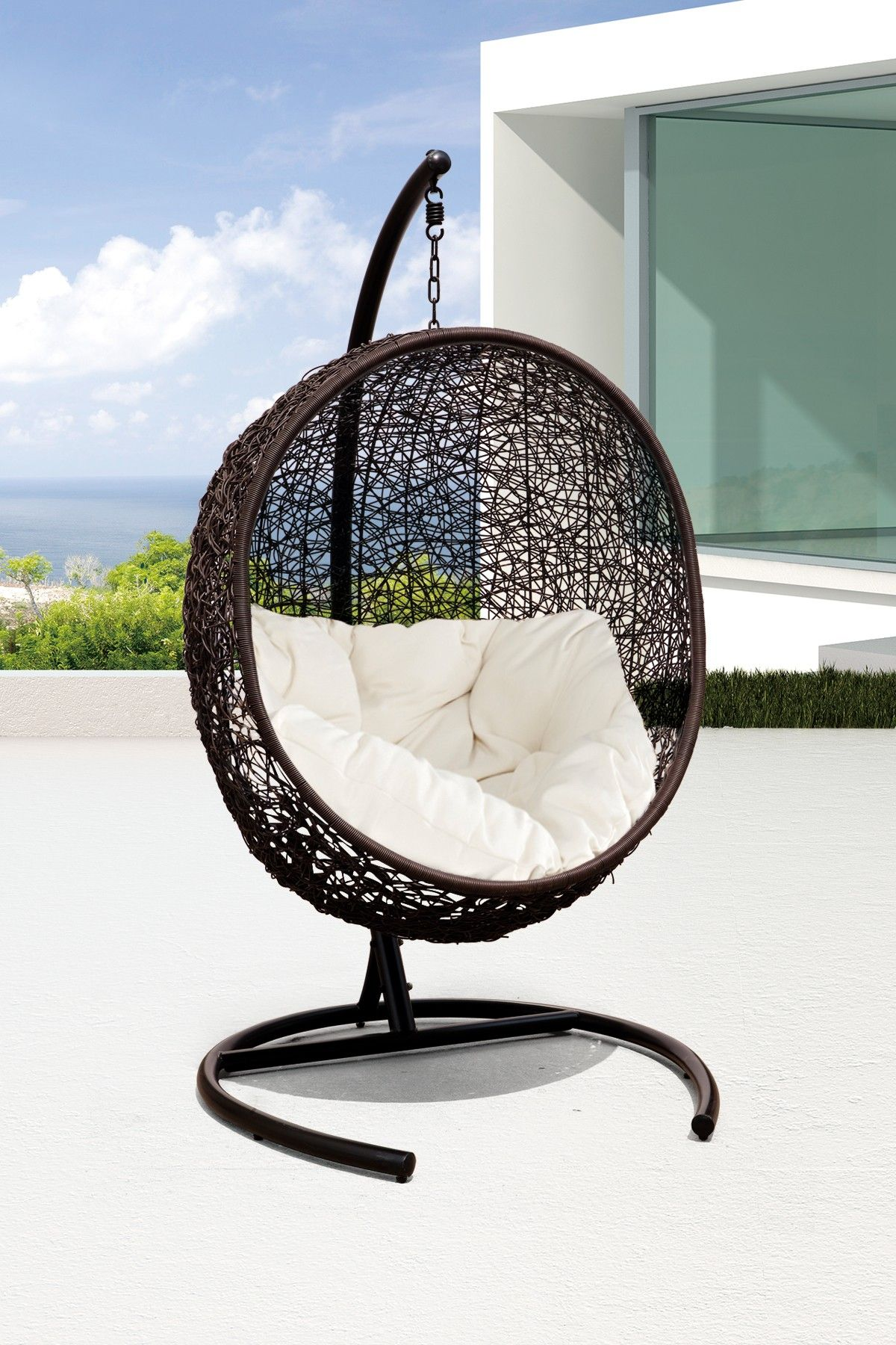 California Modern Classics Cocoon Wicker Rattan Swing ...