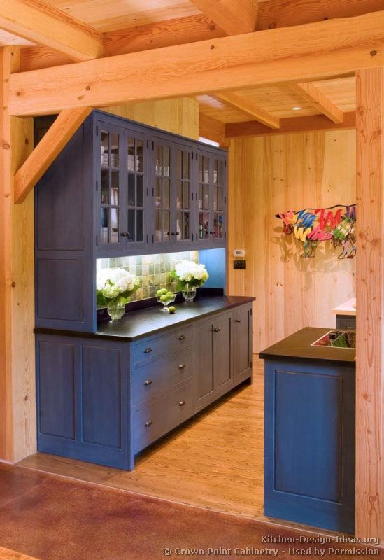 kitchen idea of the day blue kitchen cabinets by crown point cabinetry log home kitchens on kitchen cabinets blue id=27811