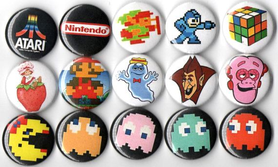 Ultimate 80's video game party button set of 15 by Panicbuttons101, $7.99