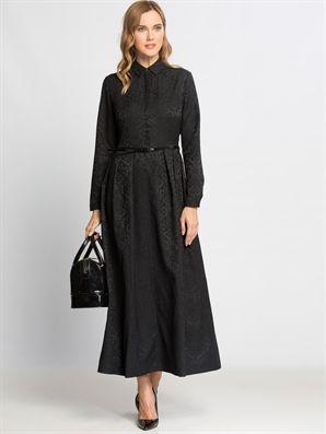 Siyah Desenli Uzun Kollu Uzun Elbise Lc Waikiki Elbise Uzun Elbise The Dress