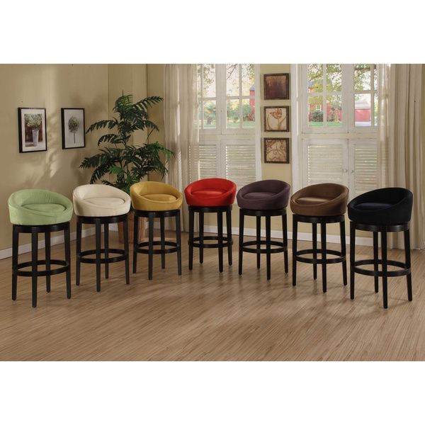 Armen Living Igloo Swivel Microfiber Bar Stool 30 Black
