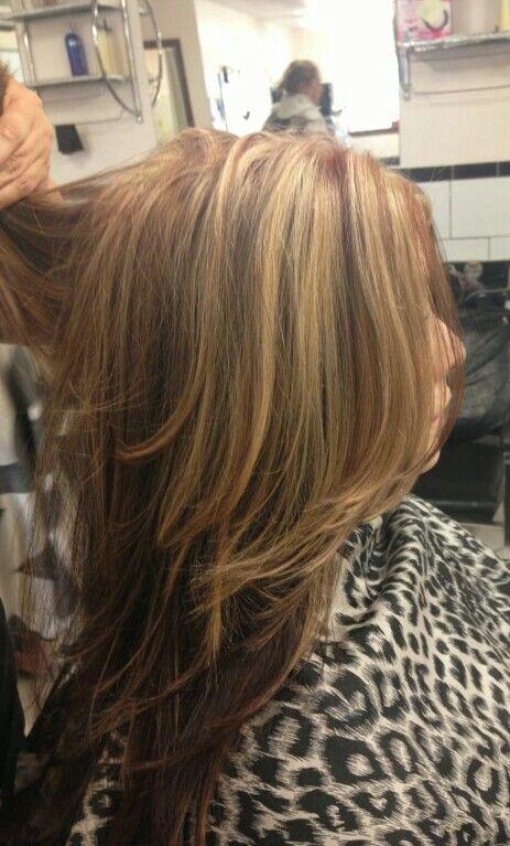 Auburn Red And Blonde Highlights W Dark Brown Underneath