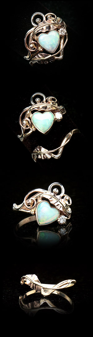 Custom Opal Heart Bridal Set In Art Nouveau Style