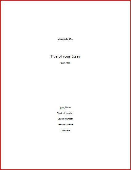 Title Page Idea For Book Reports Essay Cover Page