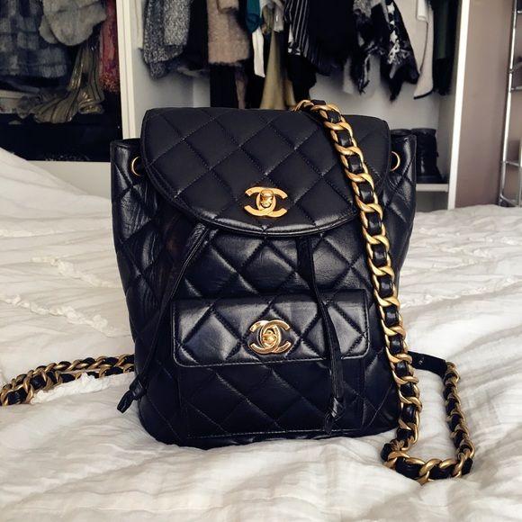 Sold Vintage Chanel Black Leather Backpack Bag Black Leather Backpack Vintage Chanel Bag Leather Backpack