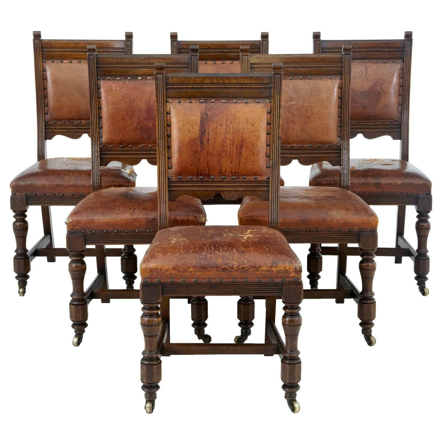 Set of Six 19th Century Carved Oak and Leather Dining