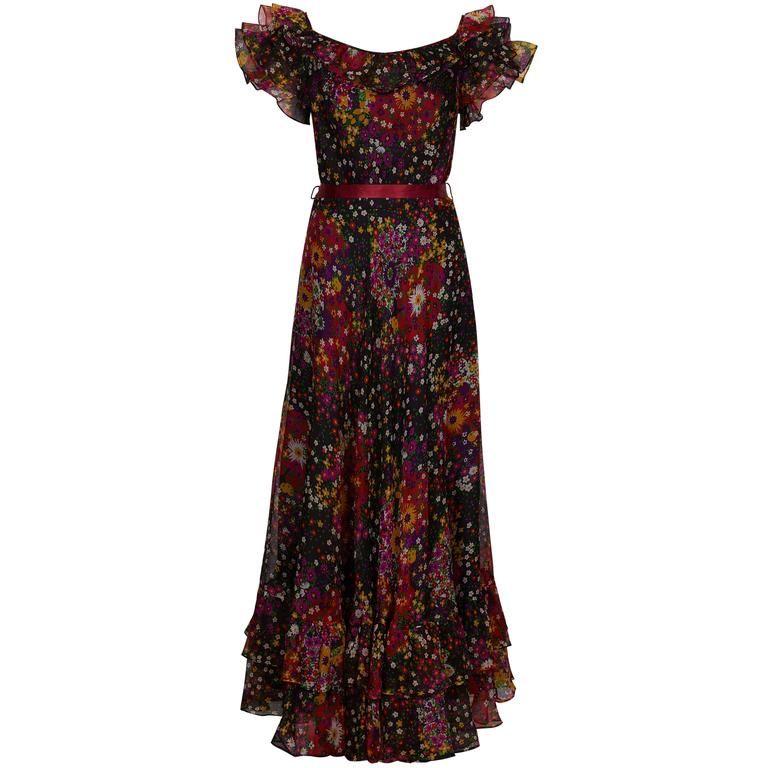 1970s Dianna Warren Silk Organza Floral Maxi Dress