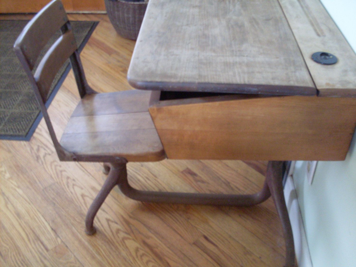 Antique Childs Wood School Desk With Steel Base And Bakelite Inkwell Rustic Home Decor