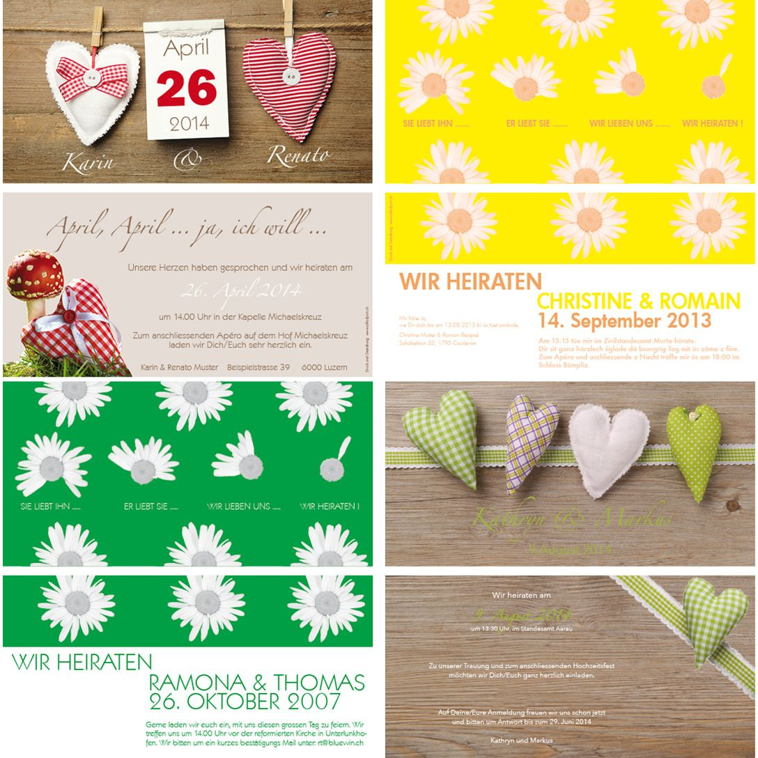 Hochzeitskarten Designt Nach Eurem Wunsch Muster Und Infos Unter