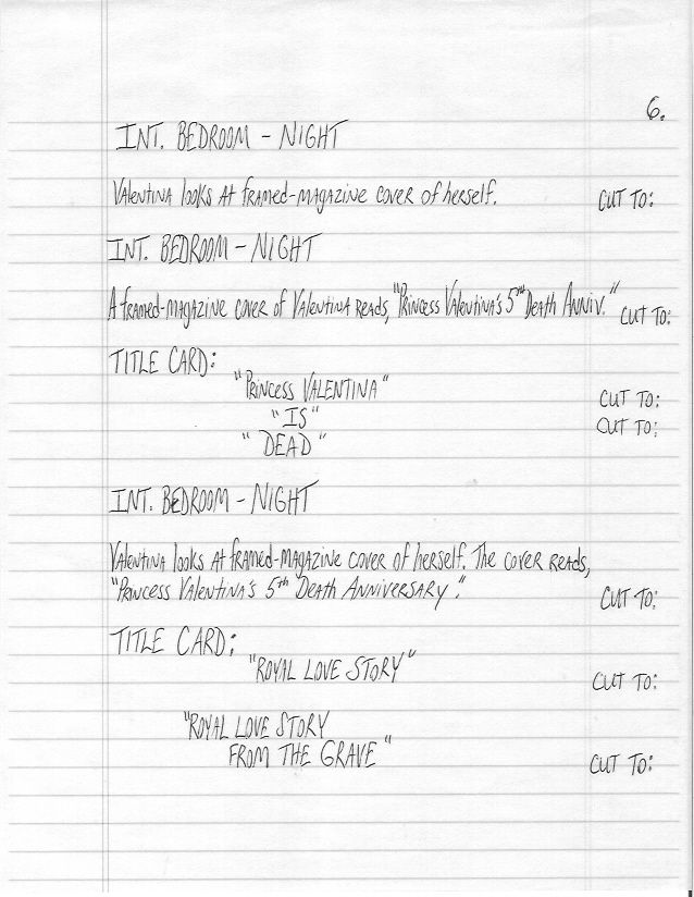 hand written sample screenplay page 6 of royal love story from the