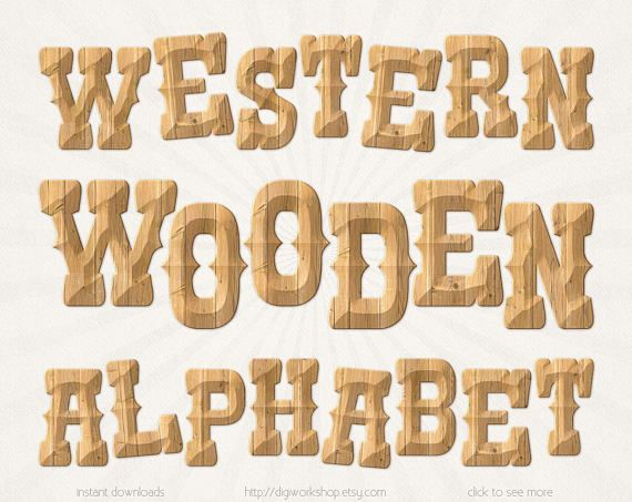 Western Wooden Alphabet Digital Clipart Clip Art Rustic Letters With Wood Textures Country Western Font Alph Western Font Rustic Letters Digital Clip Art