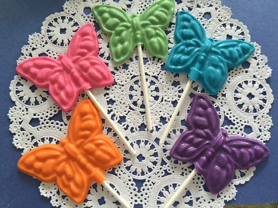BUTTERFLY CHOCOLATE LOLLIPOP Birthday by CandyConfections on Etsy