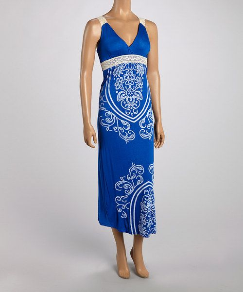 Take a look at the Royal Blue Tapestry Lace-Strap Maxi Dress on #zulily today!