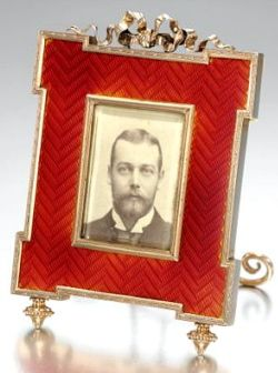 Faberge silver and guilloche enamel picture frame