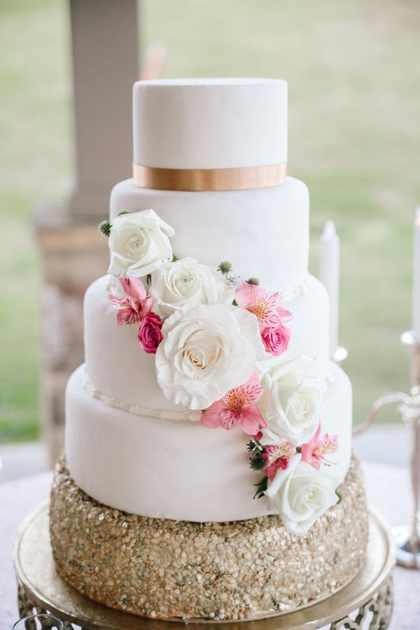 Elegant Blush Ivory Gold Wedding Cake Champagne Lake Oconee Photographer Brandy Angel Photography