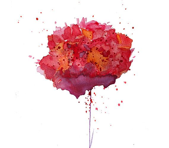 Watercolor Art Print Red Carnation Giclee Art Print Flower Wall