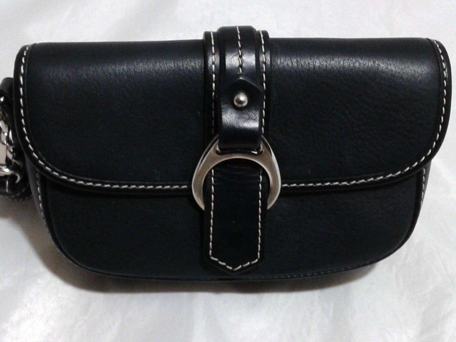 Dooney & Bourke Black Leather Flap Wristlet Purse Wallet
