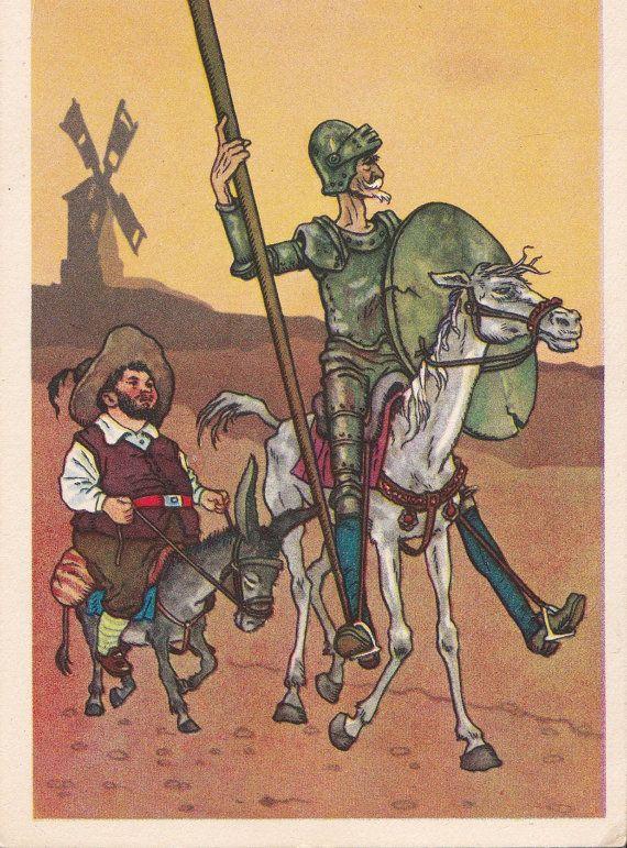 002 Postcard Illustration by Valk for Miguel de Cervantes