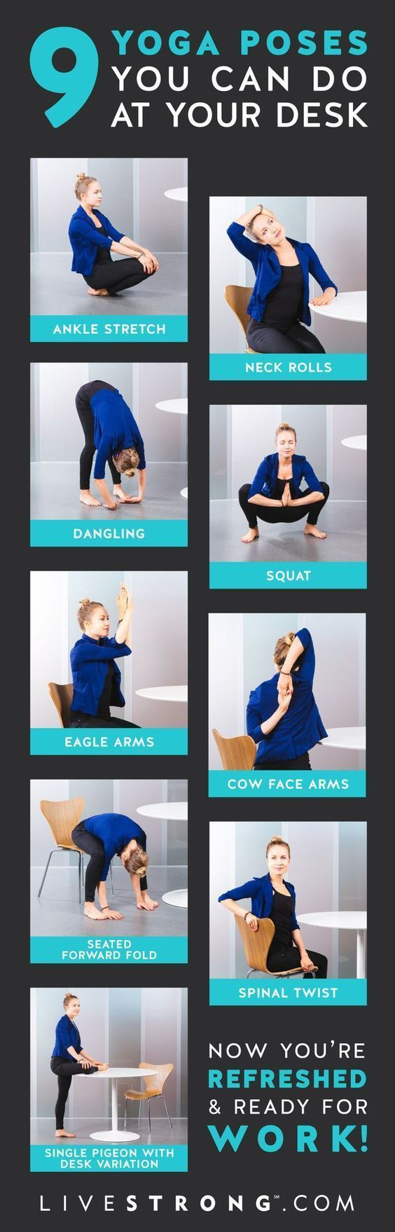 8 Stress Relieving Chair Yoga Routines You Can Easily Do At Work Olivia Wyles Yoga Benefits Yoga Tips Yoga Poses