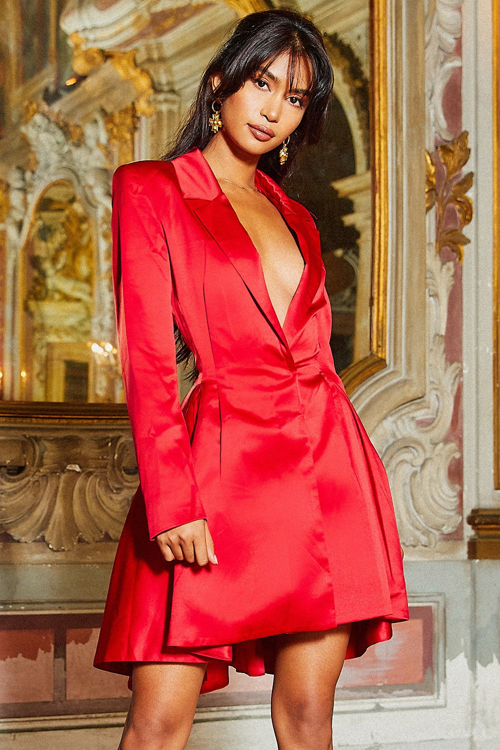 39232eb0639 Clothing   Structured Dresses    Simoneta  Red Satin Tailored Jacket Dress.  House of CB