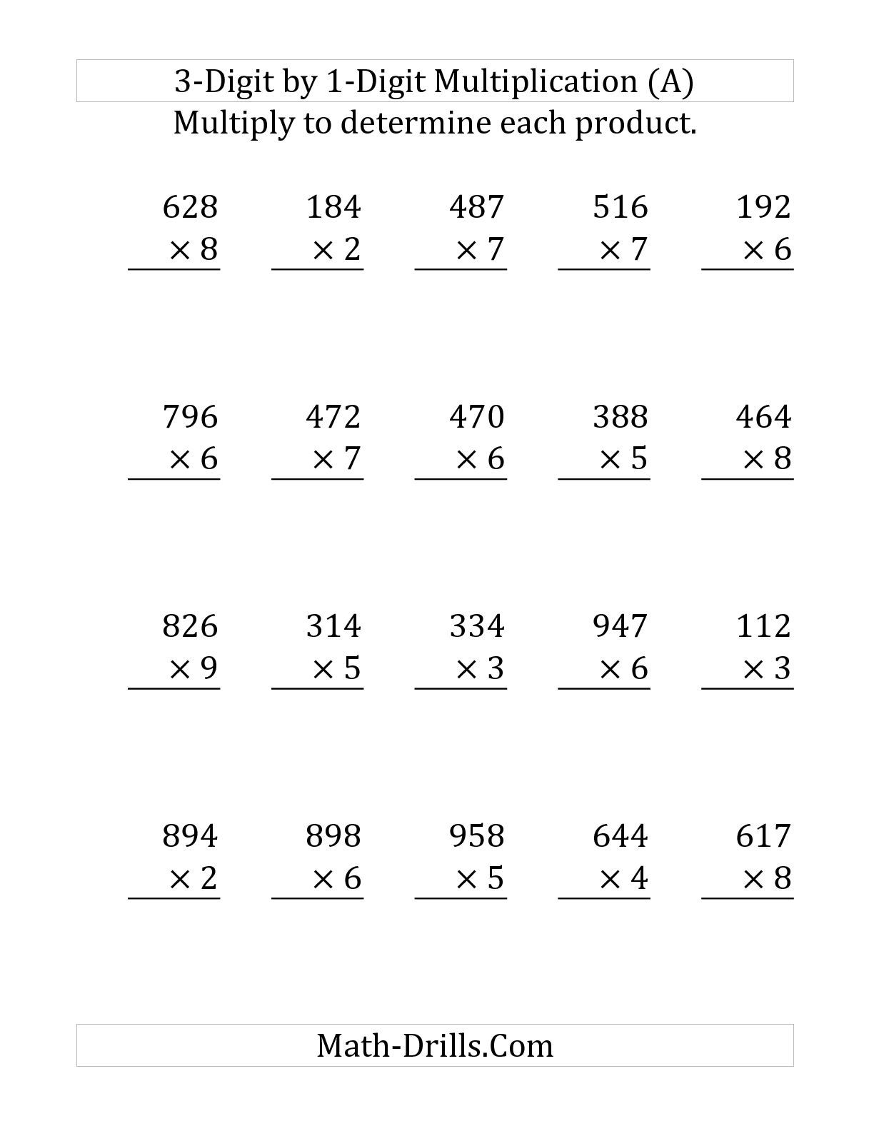 worksheet 3 Digit By 1 Digit Multiplication Worksheets the multiplying a 3 digit number by 1 large print print