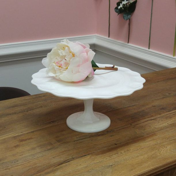 Delightful Vintage Milk Glass Cake Stand!--Excellent Vintage Condition! by ToastyBarkerBoutique on Etsy
