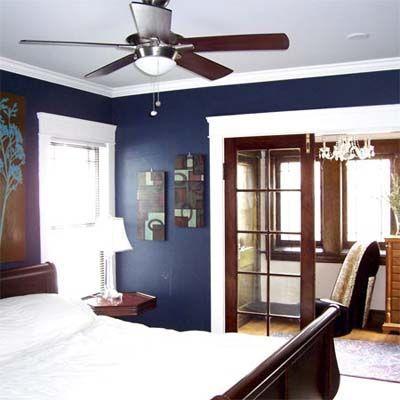 navy walls dark wood trim - Google Search | bedroom ideas in ...