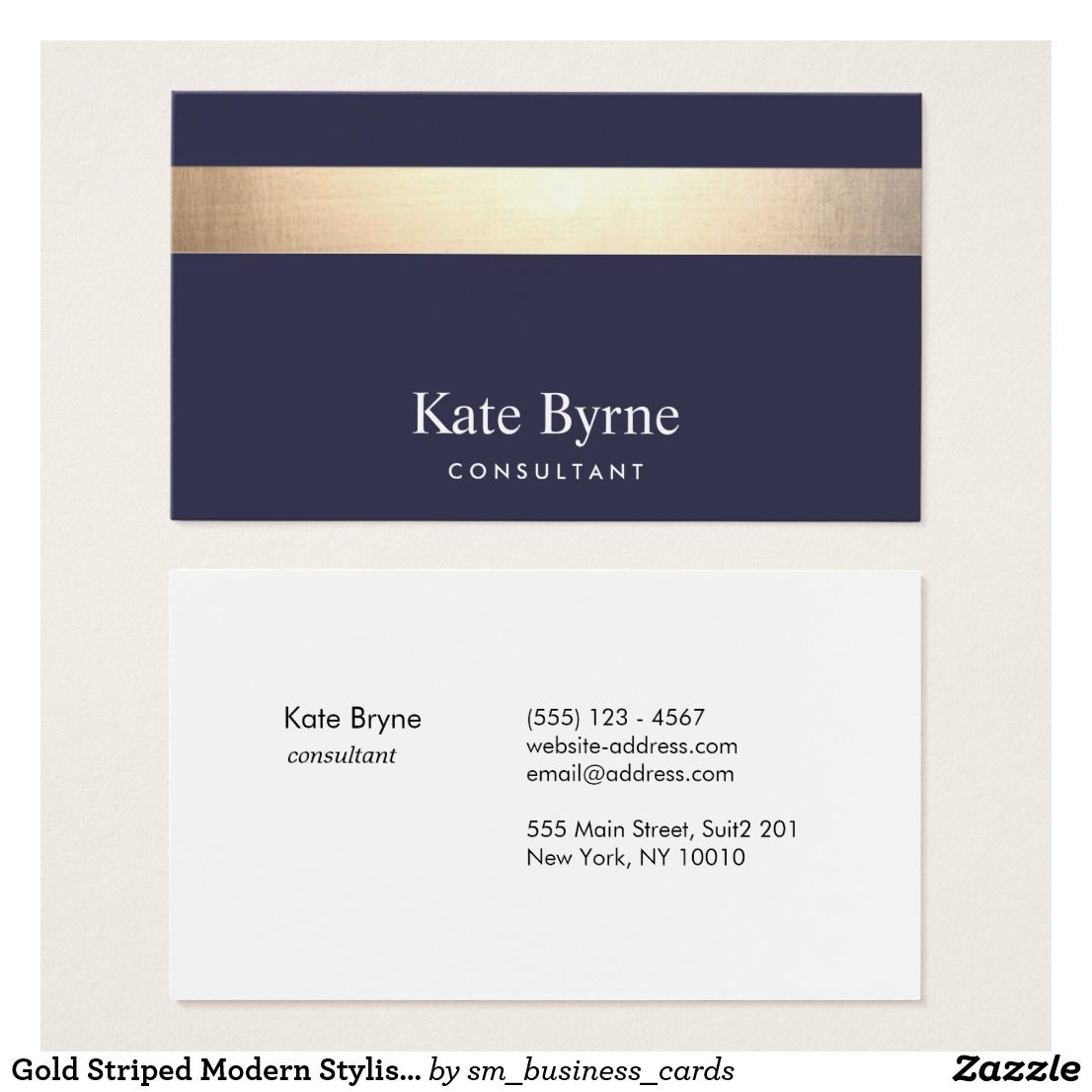 Gold striped modern stylish navy blue business card business cards gold striped modern stylish navy blue business card colourmoves
